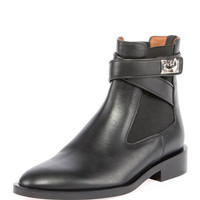 Givenchy Leather Shark-Lock Wraparound Boot, Black