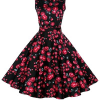 Black Floral Sleeveless Sheath Tent Mini Dress