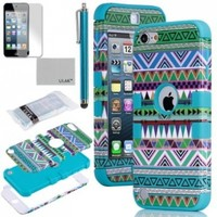 Pandamimi ULAK 3 in 1 Hybrid Green Hard Aztec Tribal Pattern and Blue Silicon Case Cover For Apple iPod Touch 5th Generation + Screen Protector + Blue Stylus:Amazon:Cell Phones & Accessories