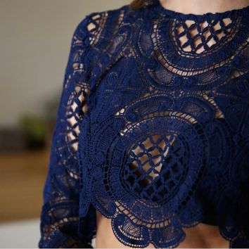 final sale - toby heart ginger x love indie balmain sheer lace top in navy