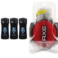 AXE Phoenix, Revitalizing Shower Gel, Travel Size 3 Fl Oz (Pack of 3) + AXE Shower Tool, Detailer, (color may vary)