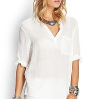 FOREVER 21 Collared Chest Pocket Top White