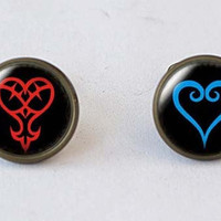 Blue Heart and Red Heartless symbol , Kingdom Hearts Stud Earrings, girlfriend gift Bridesmaid Gift
