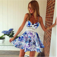 Flower Print Spaghetti Strap Sleeveless Open Back Short Dress