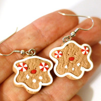 Gingerbread Cooke with peppermint buttons Smiley Face Repurposed Christmas Ornament Earrings - Womens Jewelry - Holiday Cookie Earrings