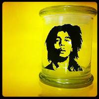 Weed Stash Jar - Bob Marley - Air Tight Glass Jar Perfect For Herb Storage and Many Other Uses!