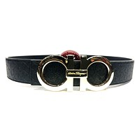 Salvatore Ferragamo Belt Men 36 Black Gold Leather Designer Fashion Waistband RH