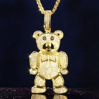 Men's Teddy Bear  Character Pendant Free Chain