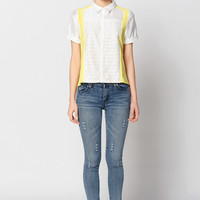 Short Sleeve Color Blocking Button Down Blouse
