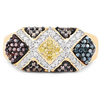 14K Yellow Gold Natural Mined Blue Red Brown Canary Yellow Diamond Ring