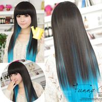 Black+Blue color Fashion womens lady sexy straight wigs style cosplay long hair