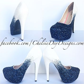 Navy Ombre Glitter High Heels, Something Blue White Wedding Shoes