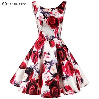 CEEWHY Floral Printed Dress Special Occasion Formal Gown Plus Size Vintage Short Prom Dresses Homecoming Robe de Cocktail Dress