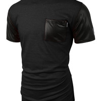LE3NO Mens Faux Leather Slub Raglan Short Sleeve T Shirt with Pockets