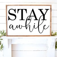 Stay Awhile Farmhouse Vinyl Wall Decal Sticker Style Home Decor