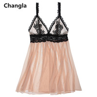 Changla New Arrival Sexy Woman Night Dress Set Lolita Girl Nightwear Super Sexy Lace Lingerie Woman Underwear V Neck Sleepshirts