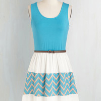 Short Length Sleeveless A-line Day Cruise Dress in Cerulean