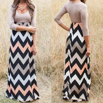Fshion Chevron Print half Sleeve Maxi Dress Ladies Elegant Dinner Dress Longuette = 4775958852