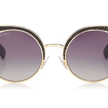 Jimmy Choo Ora Metal Framed with Snakeskin Leather Detail Sunglasses