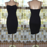 Vintage 80s Black Sweetheart Ruched Body Con Mini Dress Spandex Sexy Party Small/ S