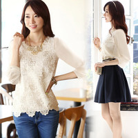 Long Sleeve Embroidered Chiffon Shirt