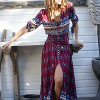 Bohemian Burgundy Vintage Print V Neck Drawcord on Waist  Maxi Dress
