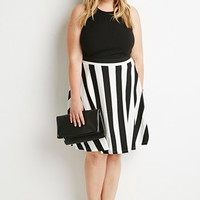 Plus Size Striped Skater Skirt