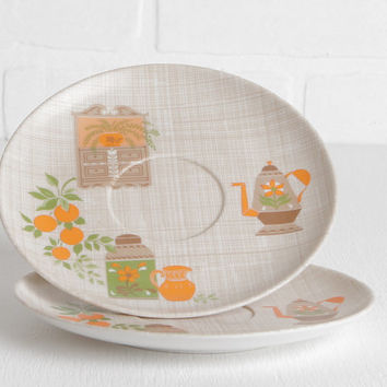 Vintage Melmac or Melamine Saucer Plates with Teapot Pitcher Oranges Hutch Design in Brown Gingham, Orange, Green and White