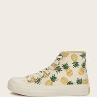 Pineapple Pattern Low Top Sneakers