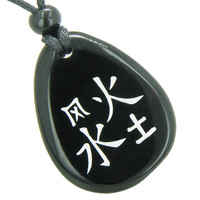 Lucky Life Kanji Elements Air Fire Water Earth Spiritual Amulet Black Agate Pendant Necklace