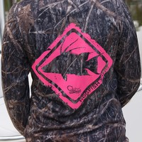 Hogfish Crossing Pink Camo UPF Long Sleeve Shirt