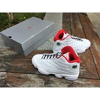 Air Jordan Retro 13 History of Flight White Red Basketball Shoes Men 13s History of Flight Sneakers Come With Shoes Box