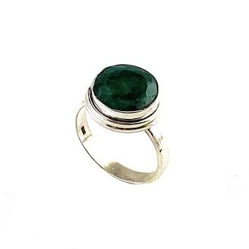 Emerald Sterling Silver Solitaire Ring