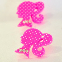 Pink Barbie silhouette post earrings