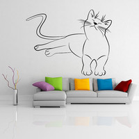 Vinyl Wall Decal Cute Relaxed Cat / Happy with His Life Kitten Silhouette Art Decor Removable Sticker / Home Mural + Free Random Decal Gift