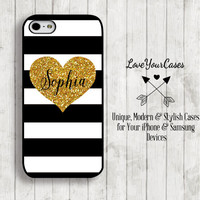 iPhone 6 Case, iPhone 6 Plus Case, iPhone 5 Case, iPhone 5c Case, Monogram Phone Case, Gold Heart, Black White Stripes, Glitter Heart, 755