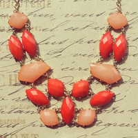 Coral and Peach Stone Statement Necklace