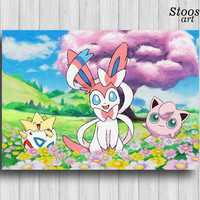 sylveon pokemon nursery print jigglypuff togepi anime painting pokemon room decor