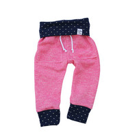Pink sweats, baby heather sweats, organic kid pants, take home outfit, Pink & Navy Blue sweatpants, jogging outfit, gold polka dots