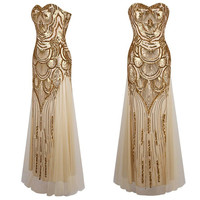Luxury Sequins Strapless Formal Dress Golden Bandage Long Party Dresses vestidos Prom Bridesmaid Wedding vestido