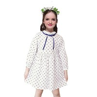 Girls Cute Dresses for Children Clothes Kids Dot Full Sleeve Dresses for Baby Spring Autumn Bow
