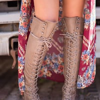 Baltimore Over The Knee Lace Up Boots (Beige)