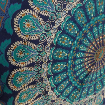 Shopnelo Home Special Tapestry Wall Hanging, Mandala Tapestries, Indian Cotton Bedspread, Blue Color Theme, Picnic Blanket, Wall Art, Hippie Tapestry