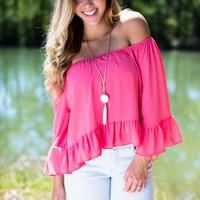 Ripe and Ruffled Coral Off Shoulder Top