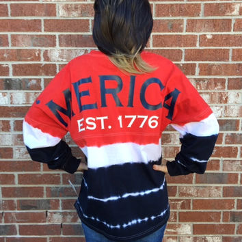 America 'Merica  Spirit Game Day Jersey red white blue tie dye oversized cotton shirt boyfriend