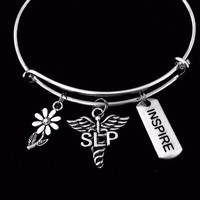 SLP Speech Language Pathologist Charm Bracelet Silver Adjustable Expandable Bangle One Size Fits All Gift Inspire Daisy Medical