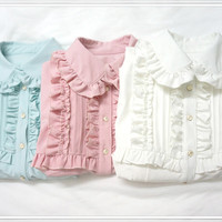 doll collar long-sleeved shirt