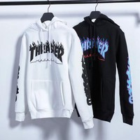 Thrasher Women Men Fashion Casual Pattern Hooded Top Sweater Pullover