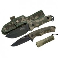 Whetstone Cutlery Rite Edge Stainless Steel Military Knife Set with Mini LED Light