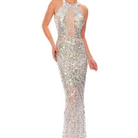 Precious Formals P9128 High Neck Sheer Illusion Sequin Prom Dress